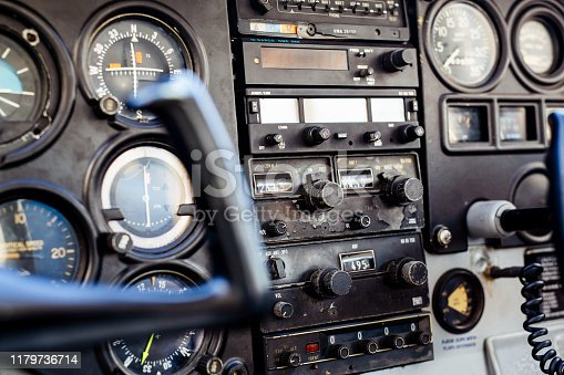 Dashboard of an old airplane.