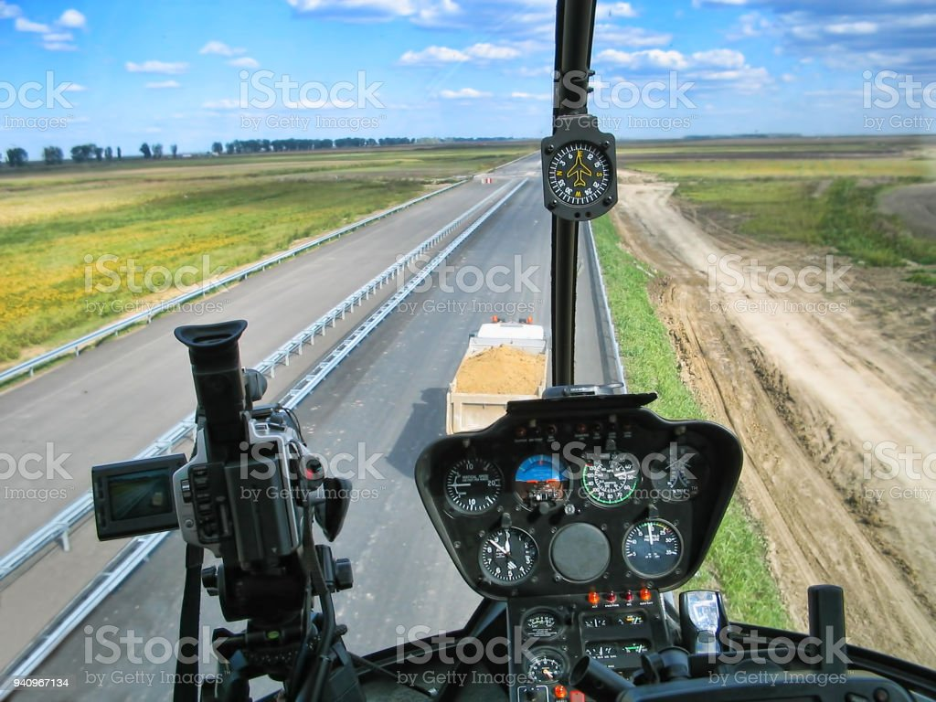 Dashboard of helicopter stock photo