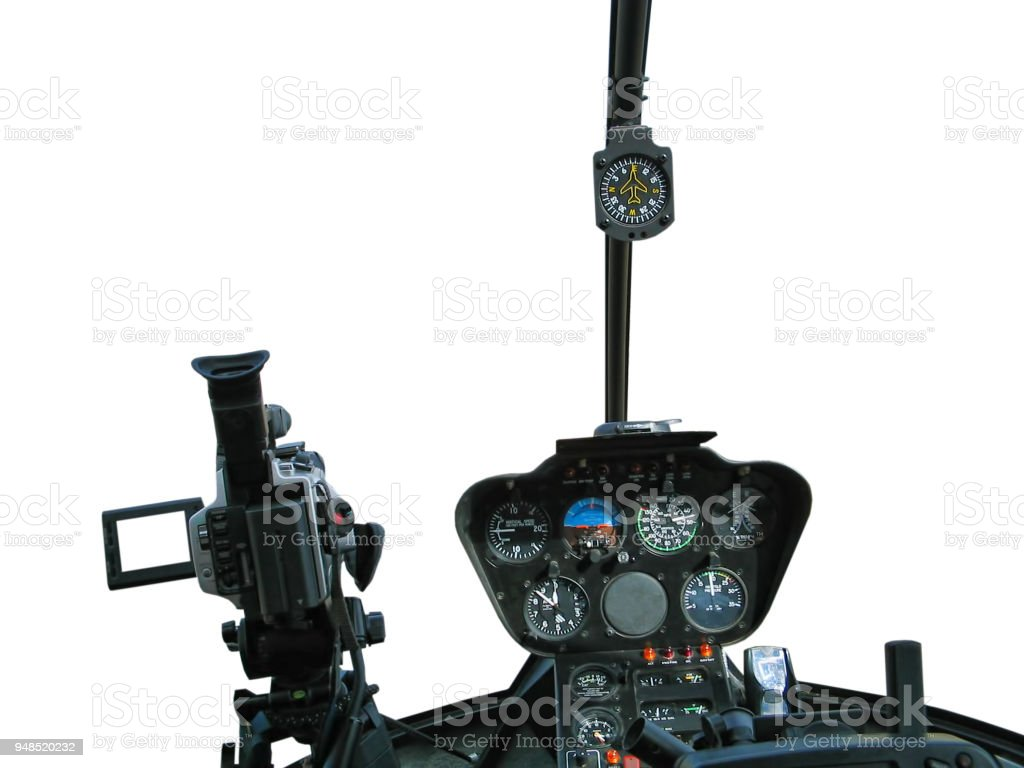 Dashboard of helicopter with video camera stock photo