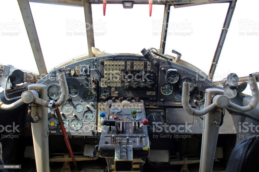 Dashboard old airplane stock photo