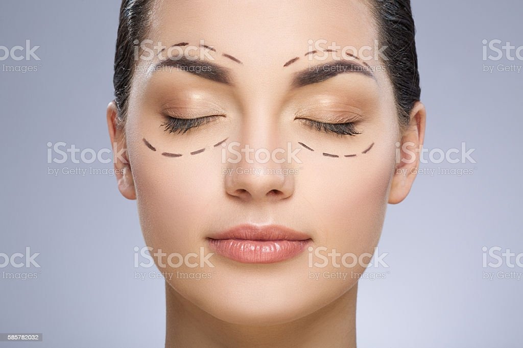 Dashed lines around closed eyes of girl stock photo