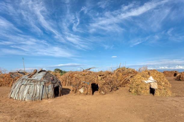 Dassanech village, Omo river, Ethiopia stock photo