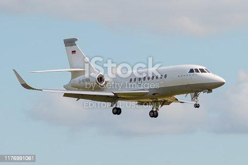 D-BONN, 23 September 2019, Dassault Falcon 2000EX-118 landing at Paris Roissy Charles de Gaulle airport from Braunschweig, Germany.