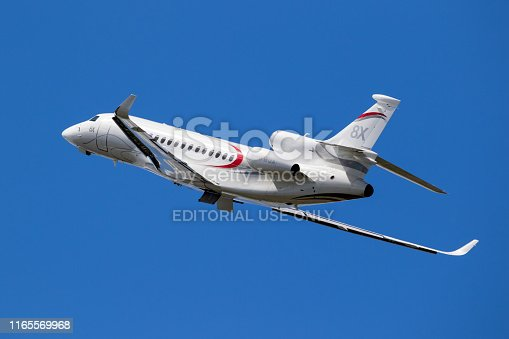 Paris - Jun 21, 2019: New Dassault Falcon 8X business jet airplane taking off from Paris Le Bourget Airport