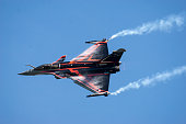 Ostrava, Czech Republic-September 2018: Dassault Rafale multirole aircraft of the French Air Force during the trout flight before the air show