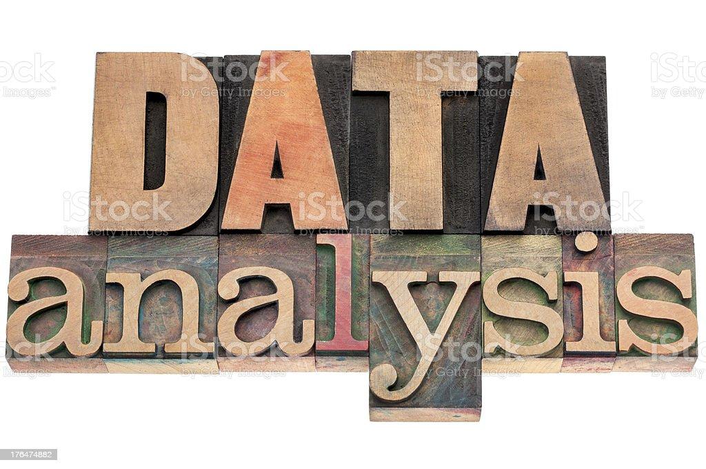 data analysis in wood type stock photo