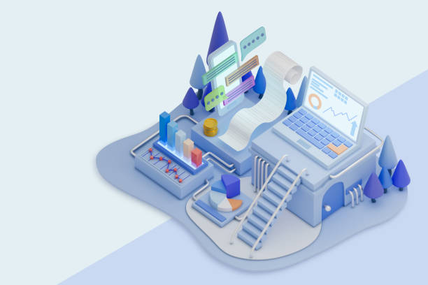 data analysis stock illustration - advertising isometric stock pictures, royalty-free photos & images