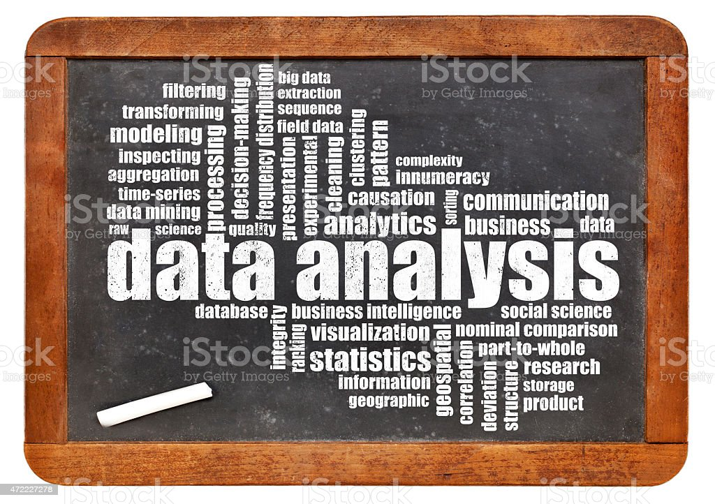 data analysis word cloud on blackboard stock photo