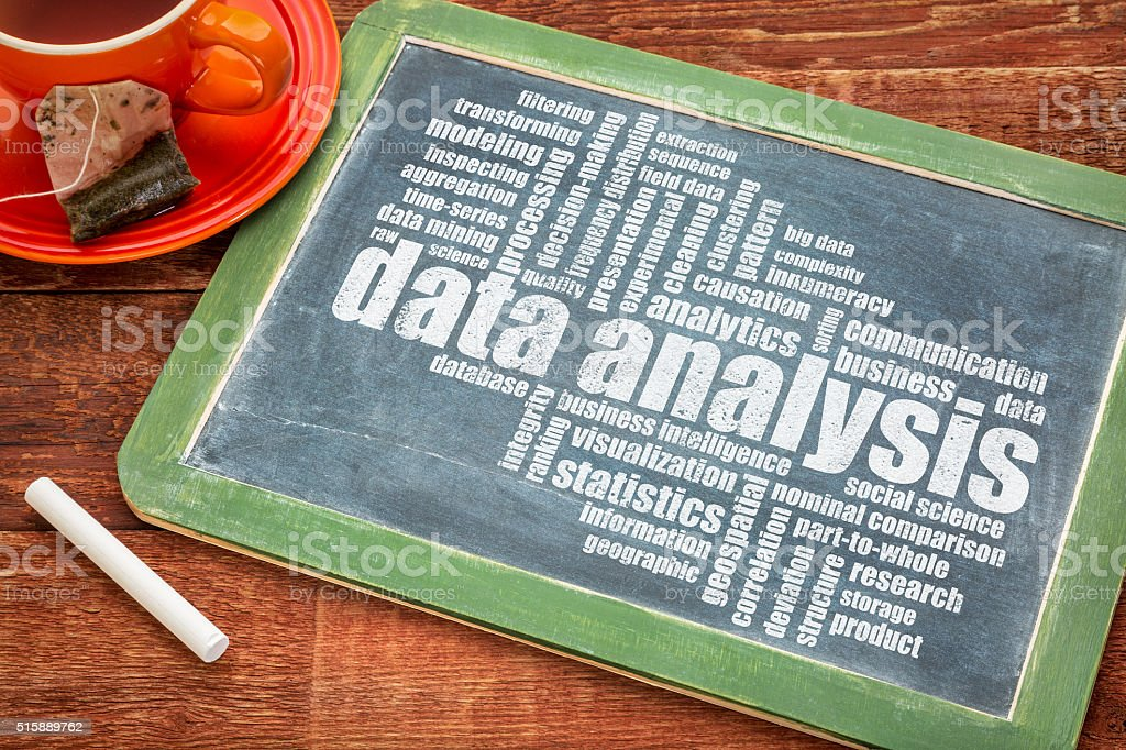data analysis word cloud stock photo