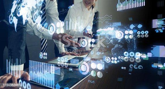 istock Data analytics concept. Financial technology. Fintech. 1154382481