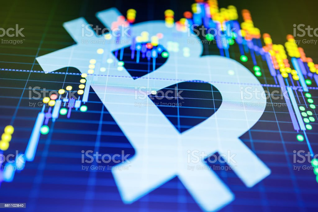 Data analyzing in exchange stock market: the candle chars on display. Analytics price change cryptocurrency BTC to USD (Bitcoin / US Dollar), the most popular pair in the world. Big Bitcoin logo. stock photo