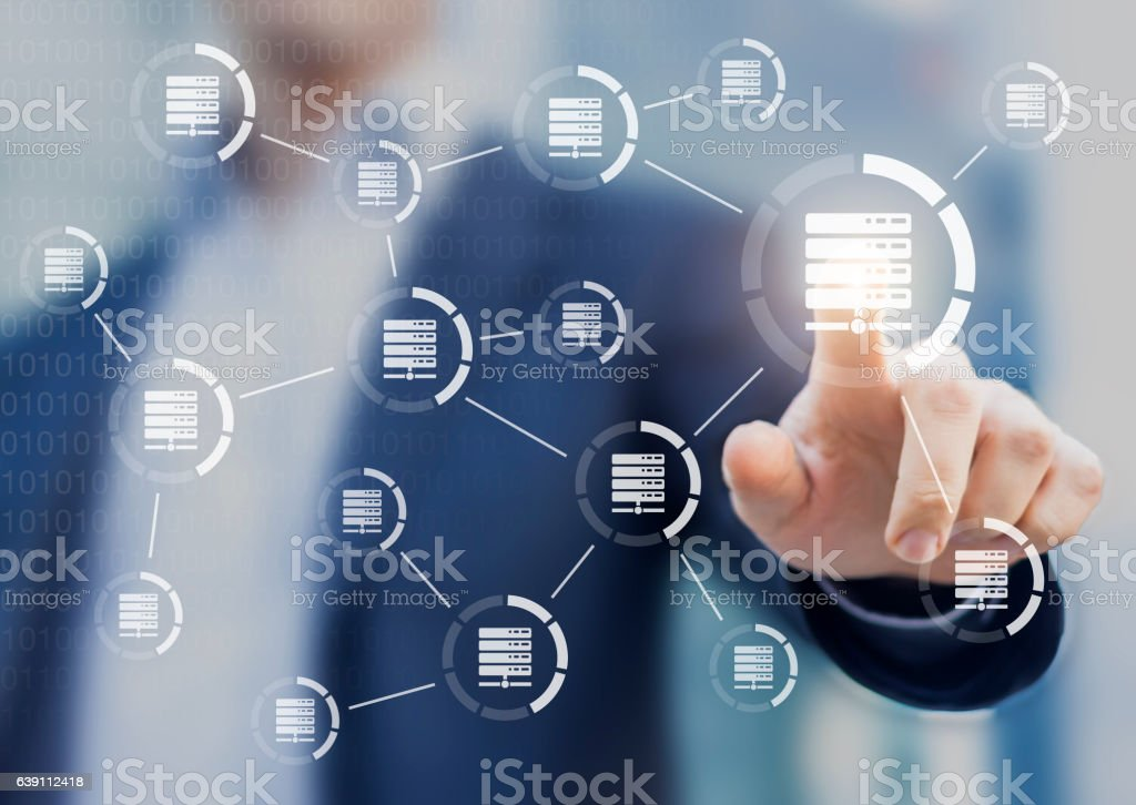 Data and server networks concept with person touching digital interface stock photo