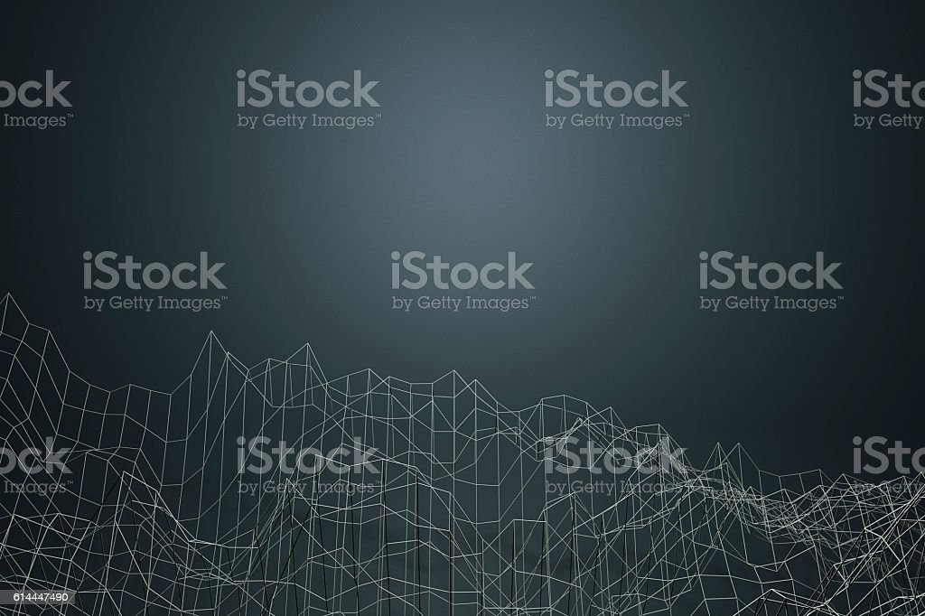 Data as abstract 3D graph landscape stock photo