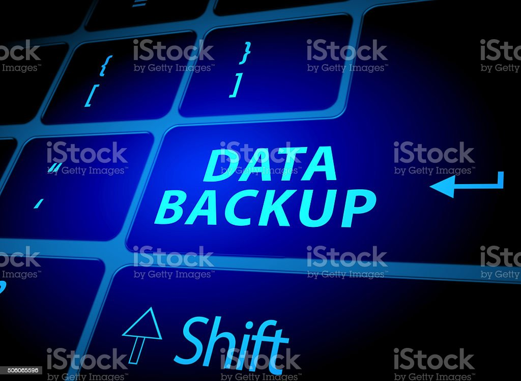 Data backup button on computer keyboard stock photo