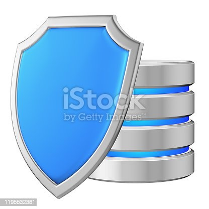 Data base behind metal blue shield on left protected from unauthorized access, data protection concept, 3d illustration icon isolated on white background for Data Protection Day