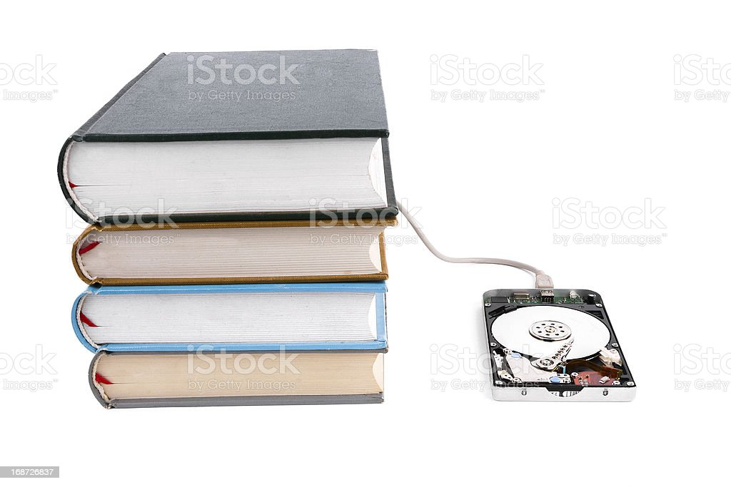 Data base:hard disk and book royalty-free stock photo