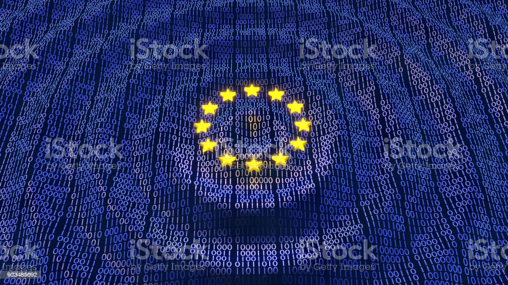 EU GDPR data bits and bytes wave ripples stock photo