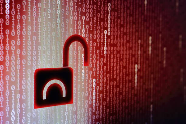 data breach concept. internet compute privacy compromised. unsecured network and data transfer. hacker hacked in to the system. cyber crime. Red binary code background with open black padlock icon. stock photo