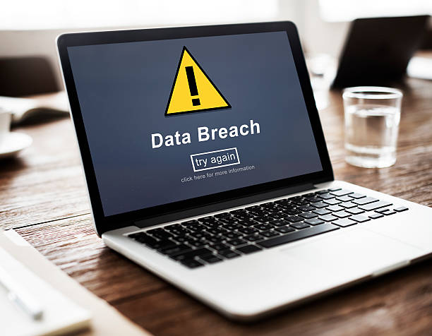 Data Breach Unsecured Warning Sign Concept stock photo