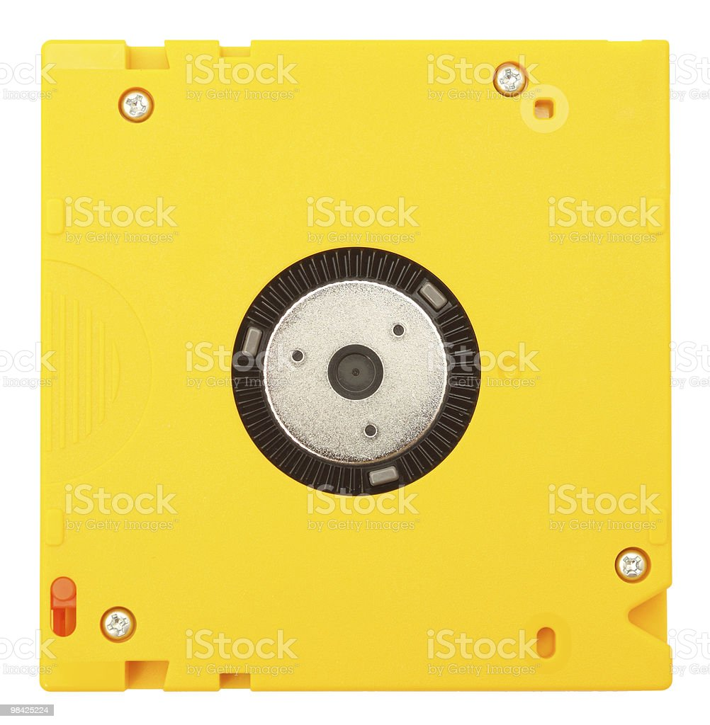 Data cartridge isolated on white. Top view. stock photo