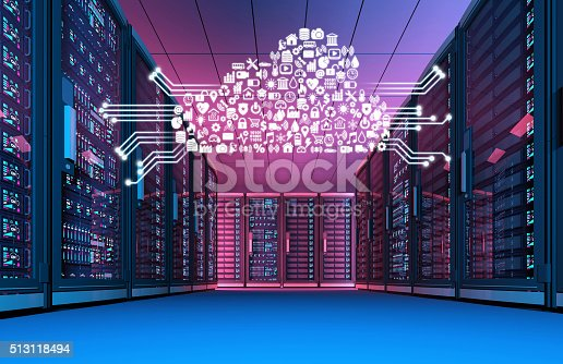 istock Data center at night with cloud computing icons 513118494