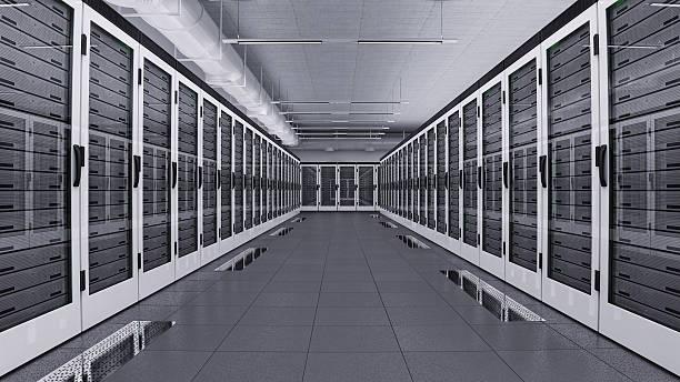 Data center hall stock photo
