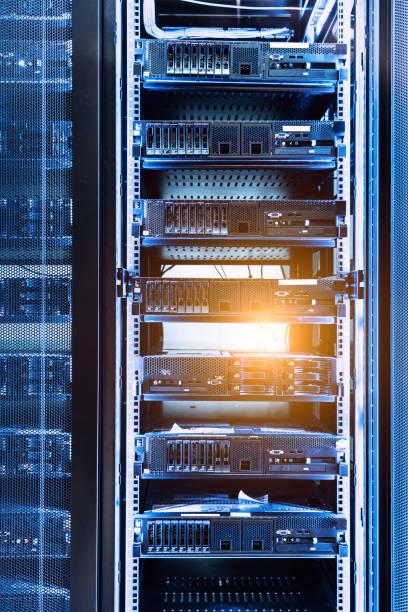 Data center in server room with server racks stock photo