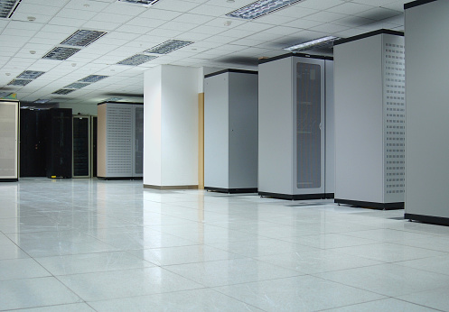 Data Center Interior Stock Photo - Download Image Now