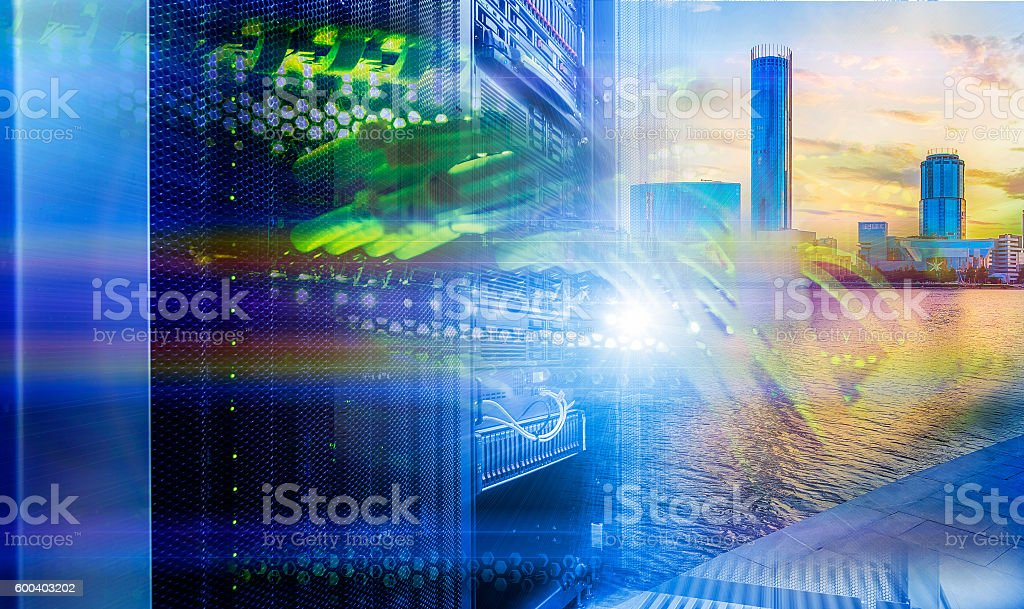Data center over the technology city in direct sun stock photo