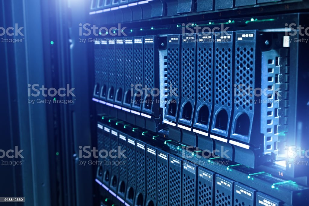 Data center with hard drives stock photo