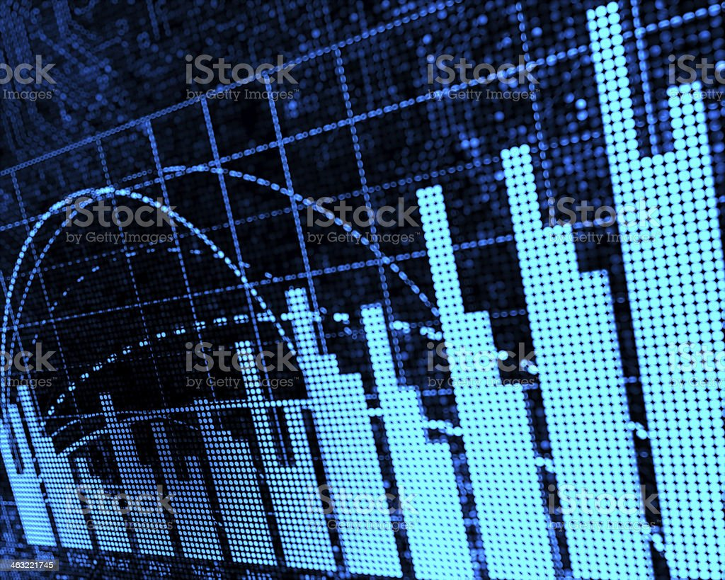 A data chart with bars and grids stock photo