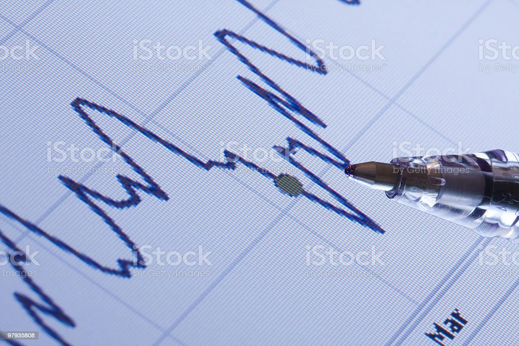 Data charts on the computer royalty-free stock photo