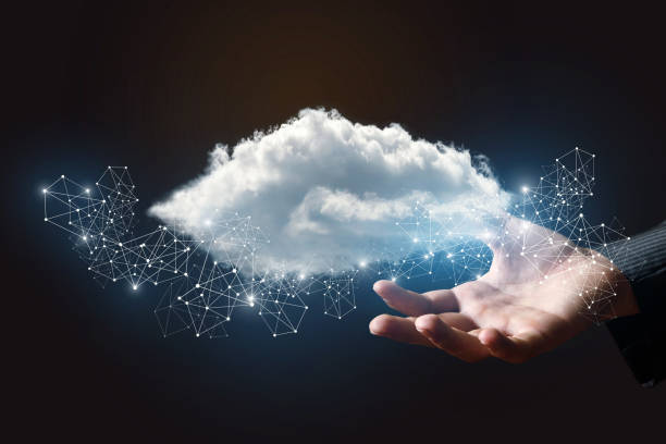 Data cloud in the hand . stock photo