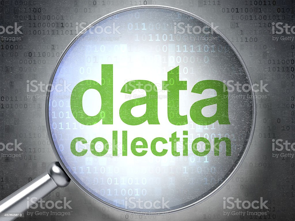 Data collection graphic under a magnifying glass. stock photo