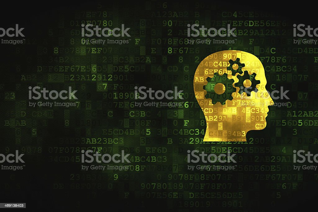 Data concept: Head With Gears on digital background royalty-free stock photo