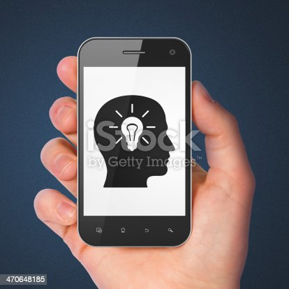 istock Data concept: Head With Light Bulb on smartphone 470648185