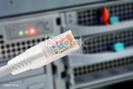 istock Data connection with rj45 patch cable, conceptual shot. 1250011518