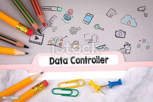 istock Data Controller concept, illustration and icons. Folder Register on desk 961718662