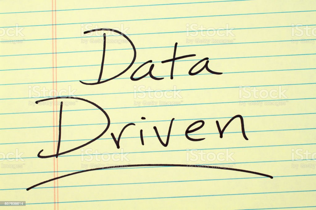 Data Driven On A Yellow Legal Pad stock photo