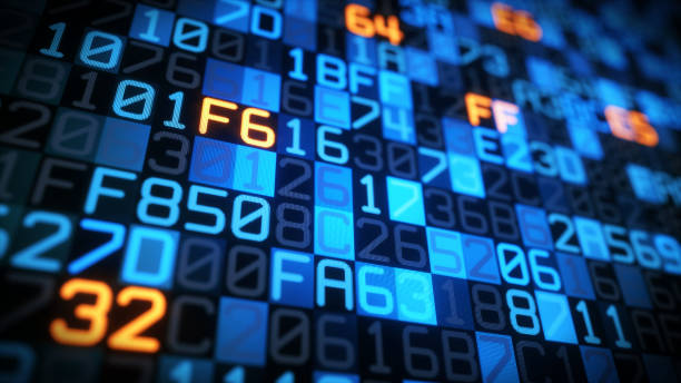 data encoding blue closeup - bit binary stock pictures, royalty-free photos & images