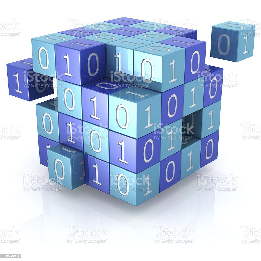 Data encryption concept 3d render of interlocking blue cubes with binary digits; data encryption or general cryptography concept. Isolated on a white background. Binary Code Stock Photo