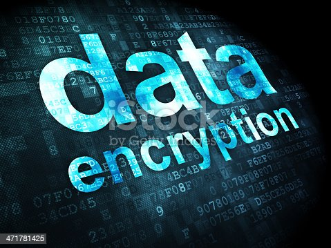 istock Data encryption with digital background 471781425