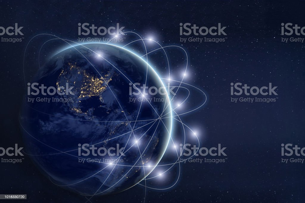data exchange and communication technology  concept, global business network over the Earth royalty-free stock photo