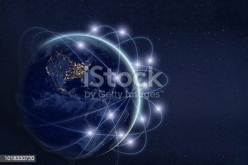 istock data exchange and communication technology  concept, global business network over the Earth 1018330720