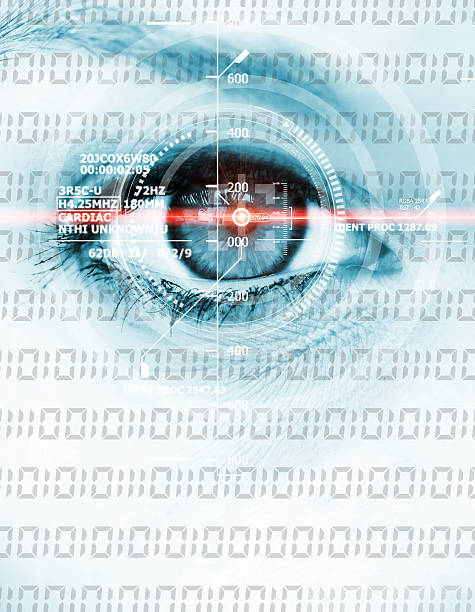 data eye with laser ray - illustration optician stock-fotos und bilder