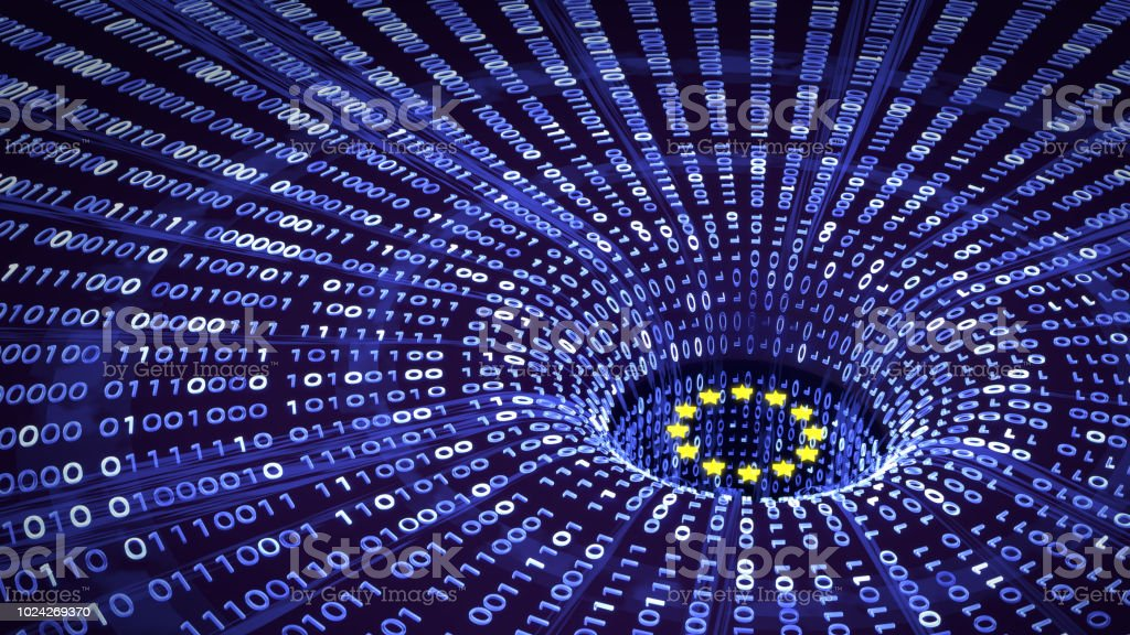 EU GDPR data falling into a wormhole stock photo