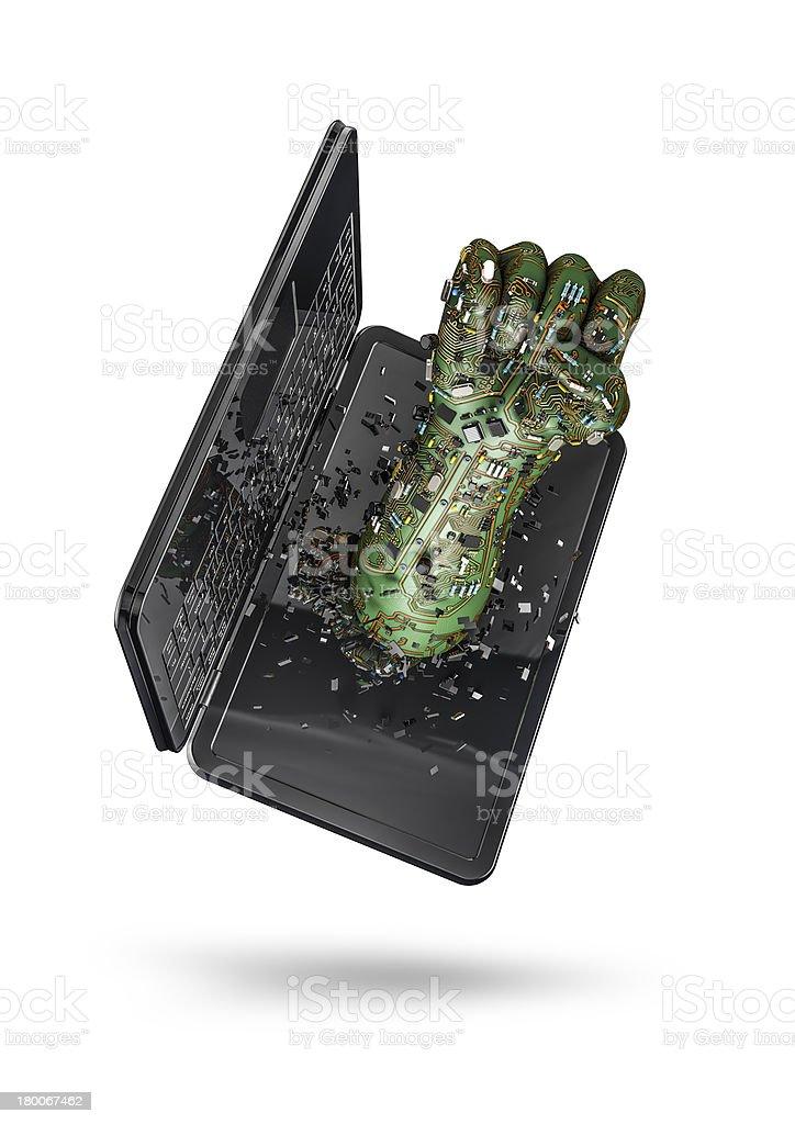 Data fist laptop royalty-free stock photo