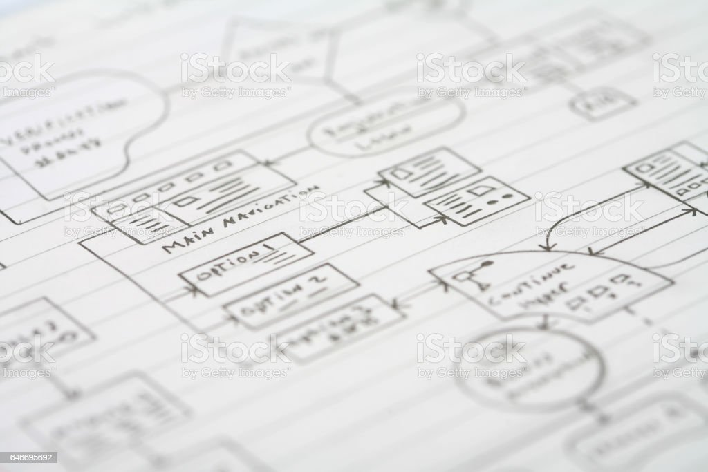 Data Flow Chart on Notebook Paper stock photo