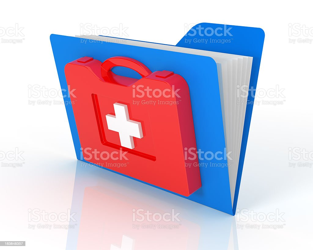 Data folders in First Aid Kit royalty-free stock photo