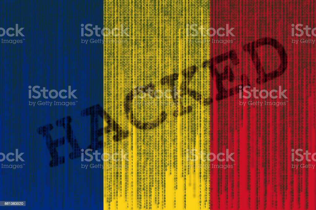 Data Hacked Romania flag. Romanian flag with binary code. stock photo